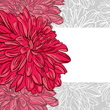 Monochrome floral background with hand drawn red peonies flower. S. Abstract vintage background with floral retro element with space for your text. Vector stock illustration