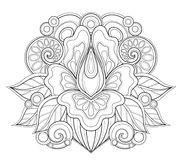 Monochrome Floral Design Element in Doodle Line Style Royalty Free Stock Photos