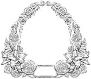 Monochrome floral frame Stock Photography