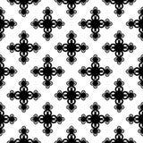 Monochrome floral geometric seamless pattern Royalty Free Stock Photos