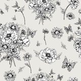 Monochrome Floral Seamless Pattern with Blooming vector illustration