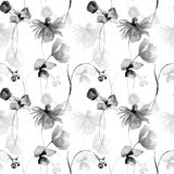 Monochrome floral seamless pattern with Gerbera and Poppy flowers. Watercolor illustration Royalty Free Stock Images