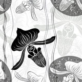 Monochrome floral seamless pattern with hand drawn orchids .Vect Royalty Free Stock Photography
