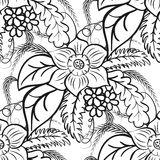 Monochrome floral seamless pattern. Large flowers and leaves on a white background. Royalty Free Stock Photography