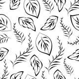Monochrome foliage seamless printable pattern. Monochrome floral seamless printable pattern. Doodle leaf, blossom print wallpaper. Vintage black white retro Royalty Free Stock Image