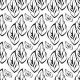 Monochrome foliage seamless printable pattern. Textile flower art silhouette. Spring, summer foliage backdrop. Monochrome floral seamless printable pattern Royalty Free Stock Photo