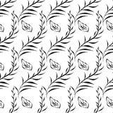 Monochrome foliage seamless printable pattern. Textile flower art silhouette. Spring, summer foliage backdrop. Monochrome floral seamless printable pattern Stock Photo