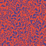 Monochrome Foliage Silhouettes Vector Seamless Pattern. Red and Purple Abstract Floral Print. vector illustration
