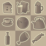Monochrome food icons. Set of monochrome food retro icons. Hatched in style of engraving. Vector illustration vector illustration