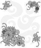 Monochrome frame of flowers Royalty Free Stock Photography