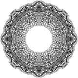 Monochrome frame mandala. Design black element in the Indian style isolated on white background. Stock Photo