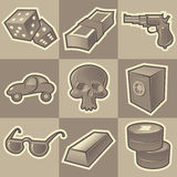 Monochrome gangsta icons. Set of monochrome gangsta retro icons. Hatched in style of engraving. Vector illustration Royalty Free Stock Image