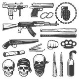 Monochrome Gangster Elements Set Royalty Free Stock Images