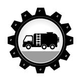 Monochrome gear wheel with fire truck inside. Vector illustration Stock Image