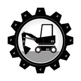 Monochrome gear wheel with forklift truck with forks Stock Photo