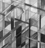 A monochrome geometric abstraction. A chalk and charcoal study for an abstract painting Stock Image