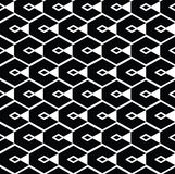 Monochrome geometric art seamless pattern, vector mosaic black Stock Photo