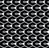 Monochrome geometric art seamless pattern, vector mosaic black Stock Photo
