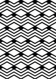 Monochrome geometric art seamless pattern, vector mosaic. Black and white interweave background. Symmetric illusive artificial backdrop Royalty Free Stock Photo