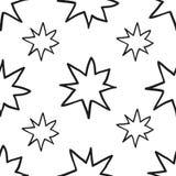 Monochrome geometric seamless pattern with hand draw Christmas stars Royalty Free Stock Image