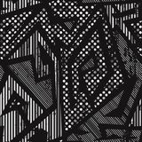 Monochrome geometric seamless pattern with grunge effect. Eps 10 vector file Stock Photography