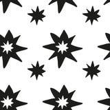 Monochrome geometric seamless pattern with hand draw Christmas stars Stock Image
