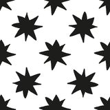 Monochrome geometric seamless pattern with hand draw Christmas stars Stock Photography