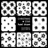 Monochrome geometric seamless pattern with hand draw Christmas stars Royalty Free Stock Images