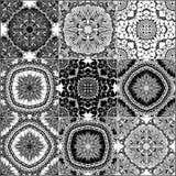 Monochrome geometric seamless patterns Stock Photography