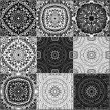 Monochrome geometric seamless patterns Royalty Free Stock Photography