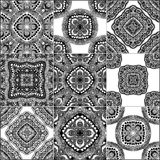 Monochrome geometric seamless patterns Stock Images
