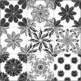 Monochrome geometric seamless patterns Royalty Free Stock Photos