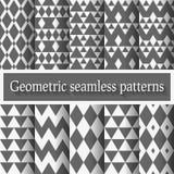 Monochrome geometric seamless patterns set Stock Images