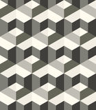 Monochrome geometric texture with structure of repeating metallic hexagons with volume effect Royalty Free Stock Photos