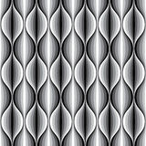 Monochrome geometric wavy lined seamless pattern. Royalty Free Stock Image