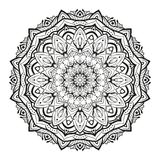 Monochrome geometrical vector mandala is isolated on a white background. Decorative element with east motives for design Stock Images