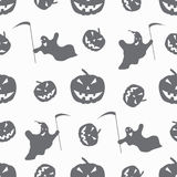 Monochrome ghosts and pumpkins on a white background seamless pattern Stock Photography