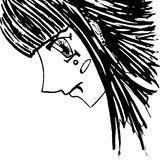 Monochrome girl with piercing portrait sketched art vector Royalty Free Stock Photography
