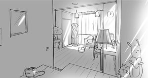 Monochrome girl`s bedroom interior. Illustration vector illustration