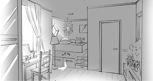 Monochrome girl`s bedroom interior. Illustration stock illustration