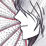 Dot stripe anime manga black and white monochrome cartoon vector Stock Photo