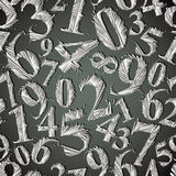 Monochrome graphic stylized numbers seamless pattern. Royalty Free Stock Images