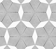 Monochrome gray striped six pedal rhombus flowers Stock Photos
