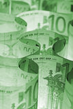Monochrome green euro banknotes background Royalty Free Stock Photo