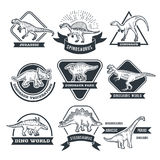 Monochrome grunge labels set with different dinosaurs. Jurassic park label collection illustration Royalty Free Stock Photo