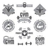 Monochrome gym labels Stock Photo