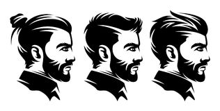 Set barbershop men hairstyle illustrations from the side. Monochrome hairstyle symbol in vintage style, labels and design elements. Vector illustration stock illustration