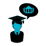 Monochrome half body man with graduation outfit and bubble speech parthenon Stock Images