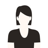Monochrome half body woman with short hair without face Royalty Free Stock Image