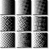 Monochrome Halftone Set. 9 Halftone Collection. Black Pattern Design. Vector Illustration Stock Photos